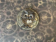 Beady eyed owl playing ukulele (statement pendant) from Priscilla's Emporium. Donating of price of any shop item to and in wake of Australia's bushfires for next 30 days. (Just send me a receipt) Steampunk Emporium, Beady Eye, Lovely Eyes, Owl Charms, Silver Wings, Steampunk Necklace, Round Pendant, Halloween Kids, Ukulele