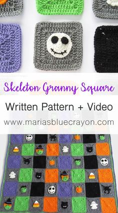Crochet Square Pattern Make this crochet skeleton granny square with the video tutorial and free written pattern. This crochet pattern is a part of the Halloween themed crochet granny square blanket. Halloween Crochet Patterns, Granny Square Crochet Pattern, Crochet Squares, Crochet Granny, Crochet For Beginners Blanket, Crochet Blanket Patterns, Baby Afghan Patterns, Crochet Blankets, Granny Square Häkelanleitung
