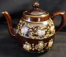 Samuel Johnson Burslem SJB Ceramic Brown Teapot Hand Painted England