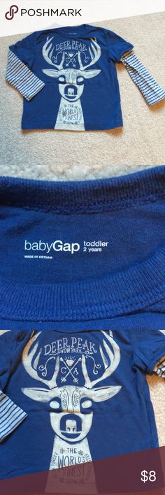 Long sleeve Gap boys graphic tee NWOT long sleeve Gap graphic tee. Washed once and never worn. Arms are striped for layered look. Size 2T boys. Pet free smoke free home. GAP Shirts & Tops Tees - Long Sleeve