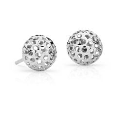 Blue Nile Carved Ball Stud Earrings ($105) ❤ liked on Polyvore featuring jewelry, earrings, carved earrings, white gold ball earrings, cut out earrings, white gold jewelry and 14k jewelry