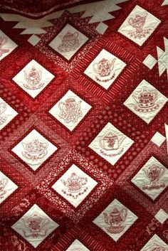 Show & Tell - January 2013 - redwork quilt at A Nimble Thimble