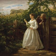 George Cochran Lambdin - In the Ear, 1865 offered by Brock & Co. on InCollect Shakespeare, Currier Museum Of Art, Pittsburgh, Boston Museums, Paintings I Love, Classic Paintings, Couple Art, Museum Of Fine Arts, American Artists