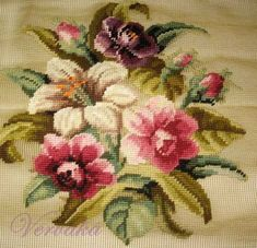 This Pin was discovered by Nil Cross Stitch Cushion, Cross Stitch Rose, Cross Stitch Flowers, Cross Stitch Charts, Cross Stitch Patterns, Crewel Embroidery, Embroidery Patterns Free, Needlepoint Stitches, Needlework