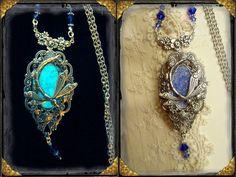 "Glow in the dark enchanted silver locket ""Meadow Dew Draogonfly~Silver Dawn"" Spiritual, Pagan, Woodland, Victorian, Art Noveau, Wiccan on Etsy, $33.95"