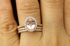 Maria Trio - Morganite Engagement Ring and Diamond Wedding Bands in Rose Gold, Halo, Bezel Set, Shared Prong, Stackiable, Free Shipping by DiamondDoveJewelry on Etsy