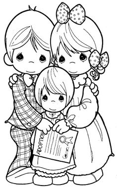 Family Precious Moments coloring pages