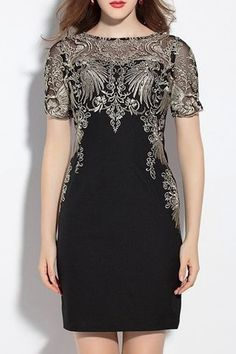 Look what I found on Black Lace-Accent Short-Sleeve Sheath Dress Sexy Dresses, Plus Size Dresses, Dresses For Sale, Short Dresses, Girls Dresses, Sheath Dress, Bodycon Dress, Pakistani Fashion Party Wear, Short Lace Dress