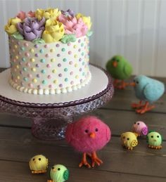 Easter pastel buttercream cake