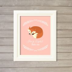 Sleep Tight Little One Nursery Wall Art Printable Fox Woodland Critters Pink - 8x10- Instant Download Print Forest Baby Girls Room Decor by FebruaryLane on Etsy https://www.etsy.com/listing/216251054/sleep-tight-little-one-nursery-wall-art