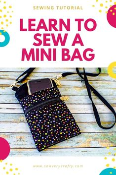 Learn to sew this terrific mini cross body bag in no time using basic bag making skills.  This is a fun and functional sewing project with a terrific sewing tutorial that will walk you step-by-step through the process of creating this terrific bag.  It is perfect to carry your phone, money and ID so give this one a try. Diy Coin Purse, Tote Purse, Crossbody Bag, Coin Purses, Easy Sewing Projects, Sewing Tutorials, Bag Tutorials, Purse Patterns, Sewing Patterns