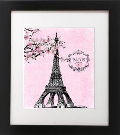 Eiffel-Tower-Pink-Parisian-Flower-Romantic-Wall-Art-Print-Custom-Girl-Bedroom @pinterest @ebay #ebay
