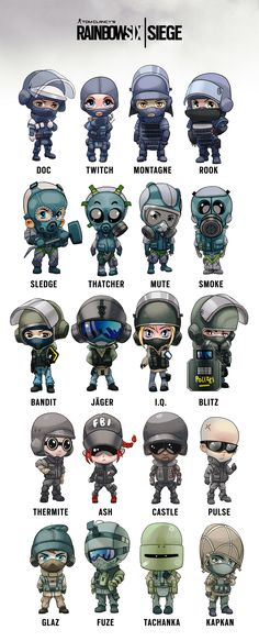 Rainbow Six Siege Operators chibi Rainbow Six Siege Art, Rainbow 6 Seige, Rainbow Six Siege Memes, Tom Clancy's Rainbow Six, Rainbow Six Siege Twitch, Rainbow Art, Video Game Memes, Video Game Art, Video Games