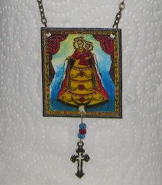 Beautiful Madonna Necklace w Retablo Holy Mother Mary Pendant Antique Look | eBay