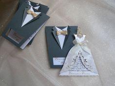 Bridal Wedding Invitations Bride and Groom Tuxedo por SarayaWedding