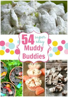 54 Super Easy Muddy Buddy Recipes - a collections of popular, easy-to-make & delicious Muddy Buddies Puppy Chow Snack, Puppy Chow Recipes, Chex Mix Recipes, Snack Recipes, Candy Recipes, Dessert Recipes, Popcorn Recipes, Baking Recipes, Yummy Snacks