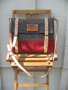 Personalized Swiss Army iPad Messenger  Bag- Cross Body Travel Bag- Pure Wool-handtooled Leather-Taupe- -Red stripe-French Linen lining