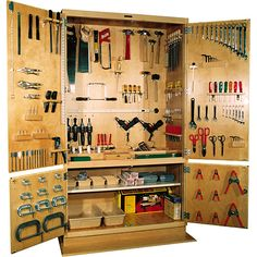 30 inspiring diy garage storage design ideas on a budget 13 Workshop Storage, Workshop Organization, Garage Organization, Organization Ideas, Tool Storage Cabinets, Diy Garage Storage, Woodworking Plans, Woodworking Projects, Handyman Projects