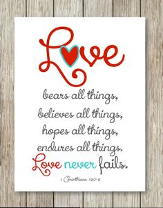 Instant Download Printable  LOVE never fails  by CoCoStineDesigns, $8.00