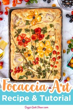 How To Make Focaccia Bread Art With Vegetables + Herbs – Sugar Geek Show Easy Focaccia Recipe, Pan Focaccia, Meat Appetizers, Appetizer Recipes, Bread Recipes, Cooking Recipes, Scd Recipes, Bread Art, Bread Food