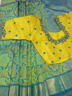 Wedding Saree Blouse Designs, Best Blouse Designs, Pattu Saree Blouse Designs, Simple Blouse Designs, Saree Wedding, India, Work Blouse, Blue Blouse, Maggam Works