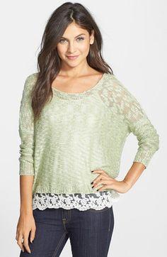 Love by Design Crochet Hem Sweater (Juniors) | Nordstrom