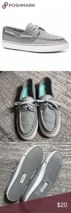 Biscayne Grey Polka Dot Sperry Shoes Good used condition with a lot of love left. Sperry Shoes