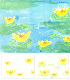 Art Projects for Kids: love the combination of oil pastel and watercolor for the Monet waterlilies