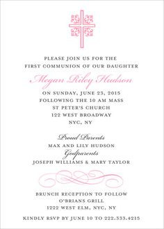 Pink Ornate Scroll Cross Invitations