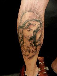 RELIGIOUS TATTOO IDEA - Leg Madonna Religious Tattoo by Orient Soul