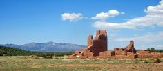 The ruins of Abo's church at Salinas Pueblo Missions National Monument, Manzano Mountains in the background.