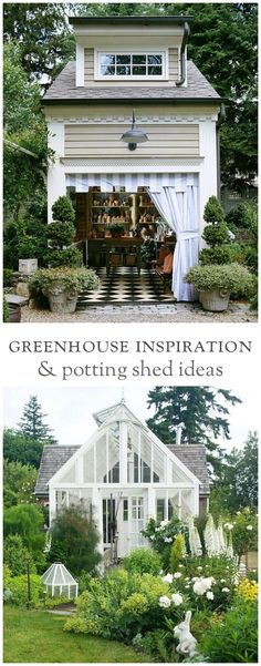 A collection of greenhouses, potting sheds, and DIY garden workspaces.