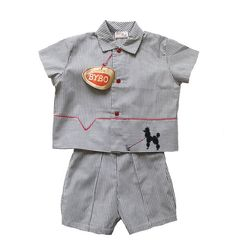 FRENCH vintage 50's / kids set / shirt and suspender shorts / striped cotton / grey and white / new old stock / size 3 years