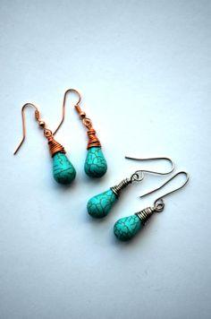 Turquoise Blue Howlite Stone Teardrop Earrings by SpearCraft, $5.00