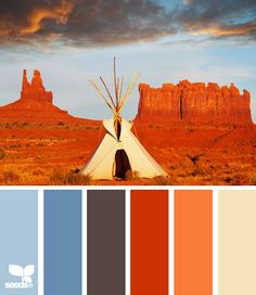 bleu, orange, gris, beige