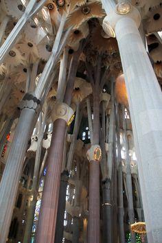 Interior de la Sagrada FamIlia de Gaudí. Barcelona. Catalonia