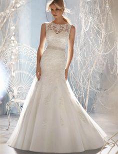 Wedding Dresses Modest A-line Sheer Sweetheart Applique Lace Beaded Belt Backless Wedding Dress #weddingdress