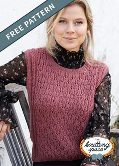 Looking for a knitwear that's perfect for layering? Make this chic knitted lace vest that will go well with most tops. This easy knitting pattern is he piece is worked with lace pattern, small cables and round neck.| Discover over 4,500 free knitting patterns at theknittingspace.com #knitpatternsfree #fallknittingpatterns #fallknittingproject #fallknits