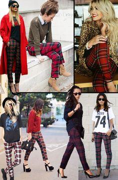 Como Usar Calça Xadrez 2 Tartan Leggings, Red Plaid Pants, Plaid Pants Outfit, Plaid Outfits, Curvy Outfits, Fall Outfits, Tartan Fashion, Fashion Pants, Fashion Outfits