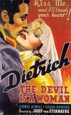 The Devil is a Woman poster 1935 Marlene Dietrich Cesar Romero (please follow minkshmink on pinterest) #thedevilisawoman #josefvonsternberg #travisbanton #spanishcostume #lace #hollywoodcostume   #cesarromero #thejoker #batman #hollywoodposter #movieposter #laceheadshawl