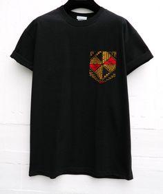 Men's African Print Pattern Black Pocket T-Shirt by HeartLabelTees
