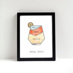Aperol Spritz Cocktail Diagram Art by drywell on Etsy