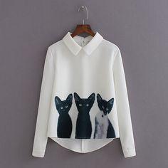 2015 nouvelle mode trois chats tout match pull à manches casual blusas desigual blanc en mousseline de soie blouses femme dans Chemises et Chemisiers de Accessoires et vêtements pour femmes sur AliExpress.com | Alibaba Group