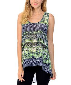Loving this Neon Lime Kaleidoscope Hi-Low Tank on #zulily! #zulilyfinds
