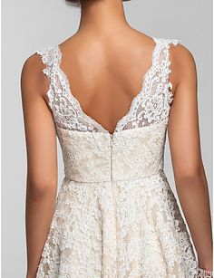 Cocktail Party / Prom / Homecoming / Wedding Party Dress - Ivory Plus Sizes / Petite A-line / Princess V-neck Asymmetrical Lace 2016 - $89.99