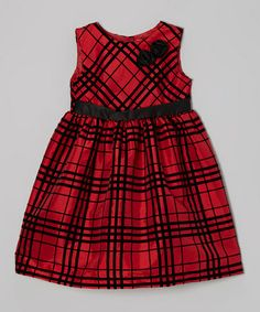 Take a look at this Red & Black Plaid Rosette Dress - Infant, Toddler & Girls by Penelope Mack on #zulily today!