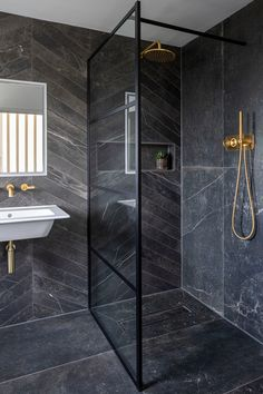 Make a statement with our Fusion Black Matt Porcelain Tile, a beautiful tile that's modern & traditional. Order a free sample of this black porcelain tile. Loft Bathroom, Upstairs Bathrooms, Small Bathroom, Bathroom Design Luxury, Modern Bathroom Design, Black Tile Bathrooms, Small Toilet Room, Bathroom Design Inspiration, Beautiful Bathrooms
