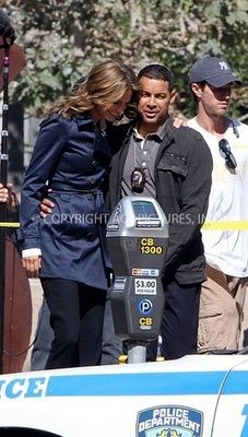Stana Katic and Jon Huertas behind the scenes of Castle.