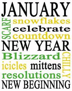 January Subway Art Printable