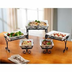 Display and serve your meal in style with this attractive and functional 5 Tier Buffet Server. Kitchen Jars, Toy Kitchen, Kitchen Decor, Kitchen Design, Kitchen Organisation, Organization, Buffet Server, Styling A Buffet, Metal Dining Table